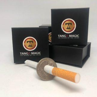Cigarette thru Quarter Dollar one side (spring system) (D0013)